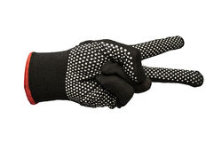 Black work gloves isolated Stock Images