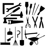 Black work tools isolated Stock Photography