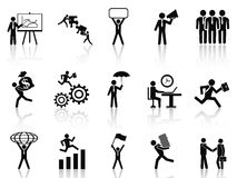 Black working businessman icons set Stock Image