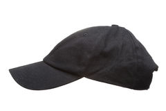 Black Working Peaked Cap. Side View. Isolated On A White Backgro Stock Image