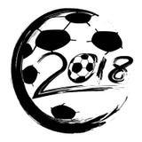 Black World Cup 2018 soccer circle logo vector Stock Image