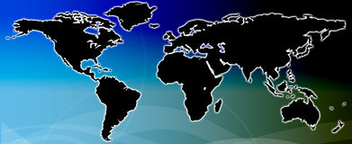Black world map Stock Photo