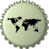 Black world map against bottle cap Stock Photo
