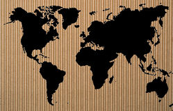 Black world map on corrugated  paper Royalty Free Stock Photos