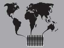 Black world map flows into the canal. Background Royalty Free Stock Photos