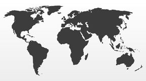 Black world map on a gray background. Vector illustration Royalty Free Stock Photography