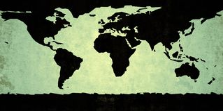 Black World Map on Green. Black silhouette of the world map on a green textured background Royalty Free Stock Photos