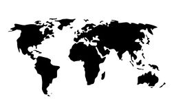 Black world map illustration. Travel, cartography and geography concept - black world map illustration Royalty Free Stock Photo