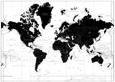 Black World Map isolated on white. Highly detailed map illustration with countries, cities and water objects vector illustration