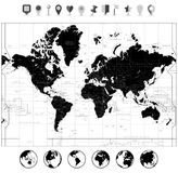 Black World Map and navigation icons isolated on white. Highly detailed map illustration with countries, cities and navigation symbols vector illustration