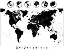Black World Map and navigation icons isolated on white vector illustration