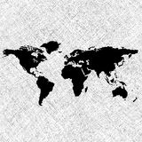 Black world map over grunge stripes Royalty Free Stock Photos