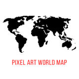 Black world map in pixel art. Concept of locations, 8bit videogame, topography, eurasia, geographica, schooling, wallpaper. isolated on white background Royalty Free Stock Images