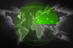 Black world map radar Royalty Free Stock Images