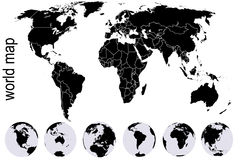 Black world map with set of Earth globes Royalty Free Stock Photo