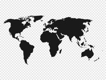 Black World map silhouette on transparent background. Vector illustration.  Royalty Free Stock Photos