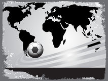 Black world map with soccer Stock Photography