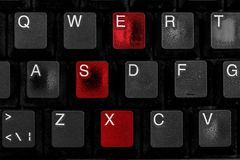 Black worn computer keyboard. royalty free stock images