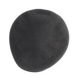Black woven beret flat-crowned hat isolated Royalty Free Stock Photos