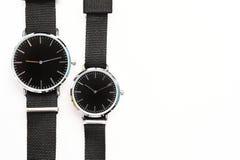 Black wristwatches. Isolated on white background Stock Photos