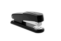 Black writing stapler. On the isolated background direct closing Stock Photography
