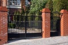 Black wrought gate Stock Photos