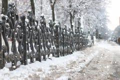 Black wrought iron fence Stock Images