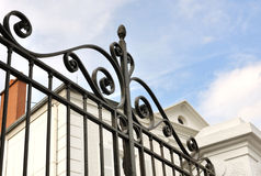Black wrought iron gate Stock Photo