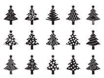 Black xmas tree icon set Stock Photography