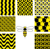 Black and yellow. 7 Seamless vector wallpaper - black and yellow Royalty Free Stock Photography