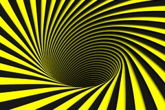 Black and yellow abstract background lines black hole. 3d illustration Royalty Free Stock Image