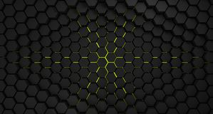 Black and yellow abstract futuristic hexagons background,3d render. Illustration stock illustration