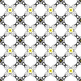 Black and Yellow Abstract Seamless Pattern Design on a White Bac Stock Image