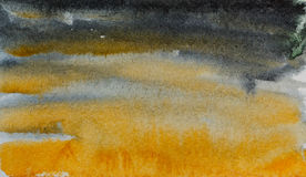 Black yellow abstraction watercolor Stock Images