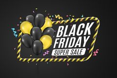 Black and yellow balloons in a yellow frame with black lines. Sign of caution. 3D Banner for sale Black Friday on a dark backgroun. D. White text. Colorful Royalty Free Stock Photos