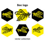 Black and yellow Bee logo vector collection Stock Photo