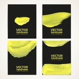 Black and yellow brush texture banner set Stock Photography
