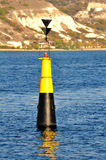 Black and yellow buoy on the Black Sea Stock Photo