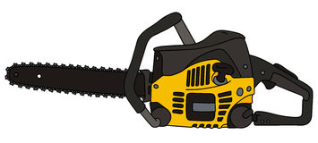 Black and yellow chainsaw. Hand drawing of a black and yellow chainsaw Royalty Free Stock Image
