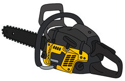 Black and yellow chainsaw. Hand drawing of a black and yellow chainsaw Royalty Free Stock Images