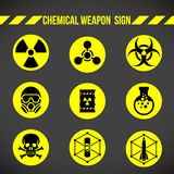 Black and yellow Chemical weapon on circle sign vector set design Royalty Free Stock Image