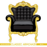 Black and yellow classic armchair over white background Royalty Free Stock Photo