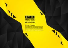 Black and yellow color polygon abstract background modern design, Vector illustration with copy space.  Stock Photo