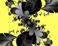 Black yellow fractal, flowery elegant sparkling contrasts lights, texture, abstract background. Black yellow contrasts flowery sparkling diamond shapes fantasy stock illustration