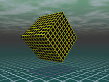 Black and yellow cube floating Royalty Free Stock Photos