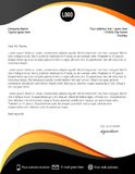 Black and yellow curves letterhead template. Design vector illustration