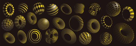 Black and yellow 3d shapes vector set. Black and gold 3d shapes vector set Stock Photo