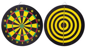 Black and yellow dartboard Isolated on White Background. royalty free stock images