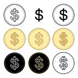 Black and yellow dollars - vector set of coins Stock Photo