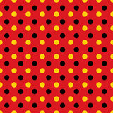Black and yellow dots on read background. Black and yellow dots on read pattern background royalty free illustration